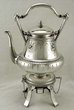 Gorham sterling silver Egyptian style hot water kettle & stand with burner c1869 (supershrink)