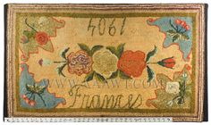Antique Hooked Rug, Floral, Dated 1904, with ruler for scale
