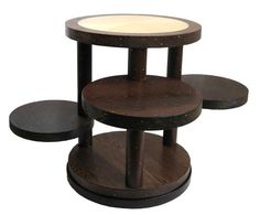 French Art Deco Fumed Oak and Sycamore Occasional Table