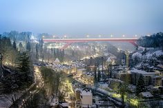 The Grand Duchess Charlotte Bridge - Luxembourg City - Winter dusting of snow