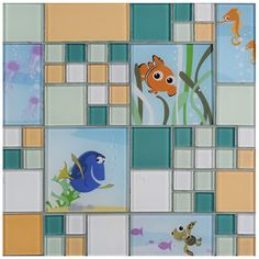 Bring the magic only Disney can create to your home with the Disney 11.75x11.75-inch Finding Nemo Aqua Glass Mosaic Wall Tile. Dive down to the coral reef with some of your favorite undersea friends.