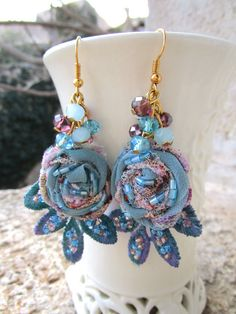 Boho Earrings Blue Purple Embroided Beaded Folk Hippie by AntikRos