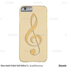 Glass Style Treble Clef Yellow Chevron Barely There iPhone 6 Case