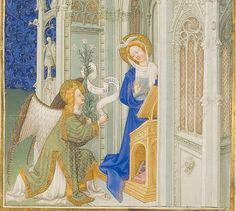 1411-16.Très Riches Heures du Duc de Berry - Folio 26r - The Annunciation - detail - characters.Musée Condé. Chantilly.