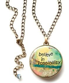 Possibility is such a good word. :: Gold 'Believe' Medallion Pendant Necklace by Kelly Rae Roberts