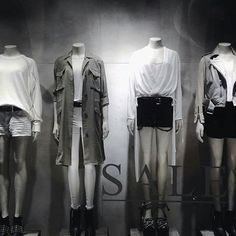 Black and whites done right at @allsaintslive by stylist extraordinaire @individualmindset #allsaints #merchandising #vm #vmlife #visualmerchandising #storewindows #mannequins #retaildesign #vmdaily