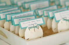 Cute place card idea for a nautical wedding & easily duplicated❣ WellWed on the Cape