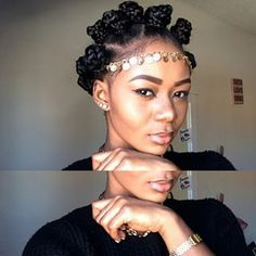 Bantu knots adorned with a gold headpiece really add a regal flair. | 15 Super Easy Protective Styles That Anyone Can Do