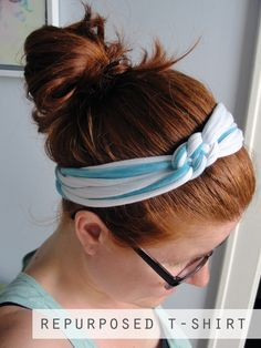 repurposed easy crafts | It was that easy to create my own knotted headband from a t-shirt.