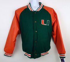 NEW Miami Hurricanes Orange Green Varsity Jacket by Steve & Barry's Size M #SteveBarrys #VarsityBaseball