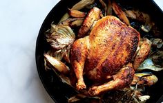 Skillet Roast Chicken with Fennel, Parsnips, and Scallions photo
