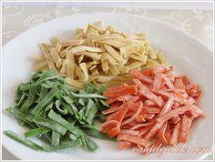 renkli makarnalar Kefir, Ravioli, Gnocchi, Japchae, Green Beans, Spaghetti, Paleo, Vegetables, Eat