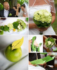 Grünes Farbkonzept einer Hochzeit