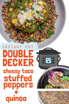 It's Double Decker Dinner Time! My favorite kind of one-pot wonderful balanced meal - there's just something so satisfying about stacking and cooking two foods Healthy Foods To Make, Easy Healthy Recipes, One Pot Meals, Easy Meals, Quinoa Stuffed Peppers, Smart Nutrition, Slow Cooker Desserts, Instant Pot Dinner Recipes, Food Science