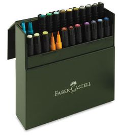 Shop Faber-Castell Pitt Artist Pens and Sets at Blick. Pigmented India Ink is waterproof, unsurpassably lightfast, acid-free, and pH-neutral. Faber Castell, Pitt Artist Pens, Artist Brush, India Ink, Leather Gifts, Letter Set, Pen Sets, Brush Pen, Basic Colors