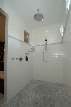 subway tile shower Bathroom Contemporary with gray cubbie