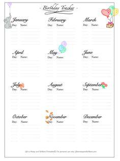 FREE Bullet Journal Printable Birthday Tracker
