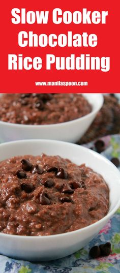 Sticky rice cooked in coconut milk and chocolate. This chocolate rice pudding is the ultimate breakfast sweet treat or when served with ice cream - a truly yummy dessert - Champorado! Crock Pot Slow Cooker, Slow Cooker Recipes, Crockpot Recipes, Crock Pots, Köstliche Desserts, Dessert Recipes, Sticky Rice Dessert Recipe, Chocolate Rice Pudding Recipe, Slow Cooker Rice Pudding