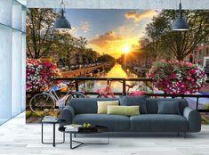 Floral Amsterdam Photo Wallpaper Cityscape River MURAL Sunny WALL DECOR Room Art