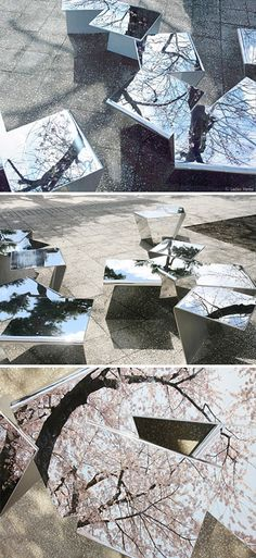 In Flakes is a temporary street installation in Japan for the sakura matsuri (cherry blossom festival). The mirrored benches maximize the beauty of the cherry blossoms by reflecting the branches of blossoms in various directions