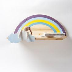 Wandregal mit Regenbogen und Wolken, Nachttisch von Werkstatt Geppetto auf DaWanda.com