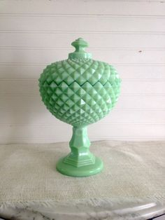 Jadite Glass Covered Compote / Candy Dish
