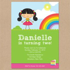 Rainbow Party Birthday Invitation Personalize by LittleLolaDesigns, $15.00