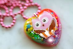 Chunky Kids Necklace Jewelry One of a Kind Heart by isewcute