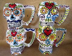 Sugar Skull Monster Mug for Day of the Dead, Halloween and Year Round. $45.00, via Etsy.