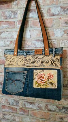 Only image reference no pattern or instructions image instructions pattern reference Lace Purse, Denim Purse, Denim Bags From Jeans, Denim Handbags, Purses And Handbags, Sacs Design, Jean Purses, Boho Bags, Recycled Denim