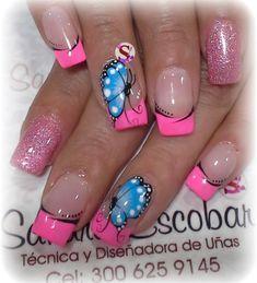 Toe Nail Designs, Acrylic Nail Designs, Gorgeous Nails, Pretty Nails, Bright Colored Nails, Mobile Nails, Peach Nails, Butterfly Nail, Floral Nail Art