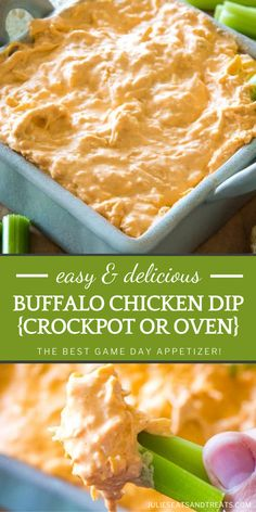 Buffalo Chicken Dip is everyone's favorite at game day parties! This easy recipe can be prepared in your crockpot or baked in the oven. Full of chicken, ranch, buffalo sauce, cream cheese, and shredded cheese, it is the best football appetizer! Pin this for later! Easy Asian Recipes, Easy Appetizer Recipes, Easy Dinner Recipes, Easy Meals, Crockpot Recipes, Chicken Recipes, Crock Pot Dips, Game Day Appetizers, Diabetic Snacks