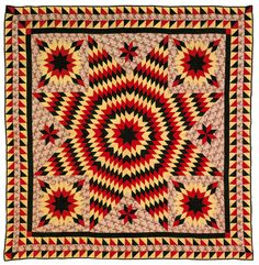 "Realized Price: $3510   Applique Bethlehem star quilt, early 20th c., with double sawtooth border, 88"" x 88""."