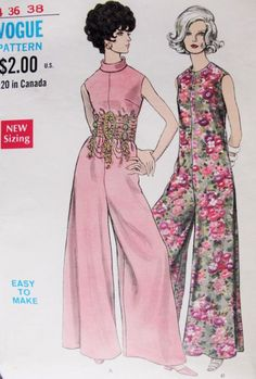 1960s Mod Jumpsuit Pantdress Pattern Evening Length Palazzo Wide Leg, Evening or Lounging Patio Jumpsuit Easy To Make Vogue 7498 Vintage Sewing Pattern Bust 36 ~ jumpsuits fascinate me :D