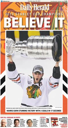 Daily Herald front page, June 25, 2013; #Blackhawks win! Browse our e-edition at http://eedition.dailyherald.com/