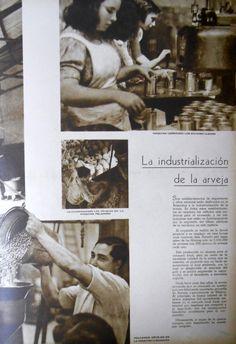 Industrialización de la arveja. Fuente: Revista M.A.N., nov-dic 1940