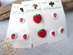 Strawberry   Buttons  Red  Buttons  Baby Buttons  by TENandBelow