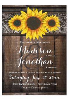 Sunflower Wedding Invitation Set Rustic Sunflower Country Wedding