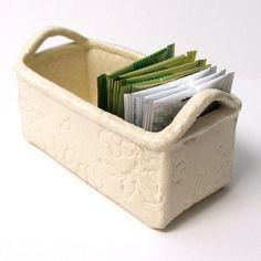 Slab built, handmade white stoneware box. Ceramics by Sumiko.