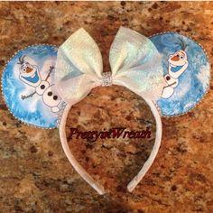 Olaf inspired Mickey Mouse ears headband by PrettyinWreath on Etsy https://www.etsy.com/listing/217366931/olaf-inspired-mickey-mouse-ears-headband