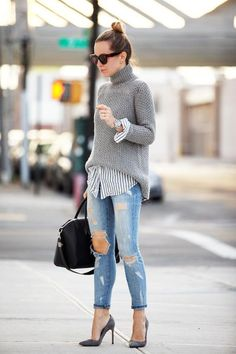 Women Clothing Sweaters combine: Trendy with Blouse, Destroyed Jeans and Pumps Women ClothingSource : Pullover kombinieren: Trendy mit Bluse, Destroyed Jeans und Pumps by Mode Outfits, Winter Outfits, Casual Outfits, Winter Layering Outfits, Winter Clothes, Spring Outfits, Outfits 2016, Fashionable Outfits, Winter Dresses
