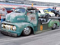 """52 Ford COE... Engine placement and exhaust are just stupid, and the door logo is tasteless and screams """"WHITE TRASH!"""" but it's otherwise a really cool truck with a badass chop."""