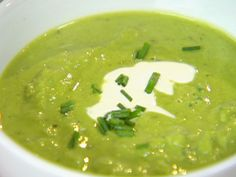 Fresh Pea Soup recipe from Ina Garten via Food Network. Made with Ina goat cheese and roasted red pepper sandwich.