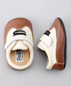 Beige & Brown Retro Soft Sole Shoe by Pedoodles