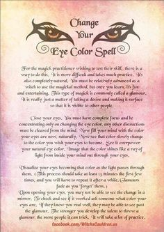 Change your eye color spell...