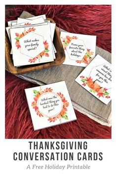 Thanksgiving Conversation Cards Take your Thanksgiving table talk up a notch with these free printable Thanksgiving Conversation Starters! These are perfect for every family to share around the Thanksgiving table! Thanksgiving Games For Adults, Thanksgiving Favors, Thanksgiving Table Settings, Thanksgiving Traditions, Thanksgiving Parties, Thanksgiving Activities, Thanksgiving Decorations, Hosting Thanksgiving, Thanksgiving Sunday School Lessons
