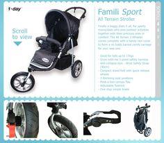 NZ $140 Famili Sport - All Terrain 3-wheel stroller / pram with rain cover.. suitable for up to 17kg