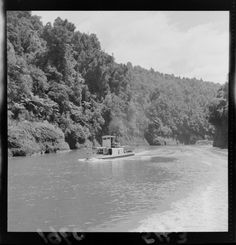 Photograph taken for the Evening Post newspaper of Wellington by an unidentified staff photographer. Quantity: 1 b&w original negative(s). New Zealand, Fountain, Photographs, Boat, River, History, Outdoor, Maori, Historia