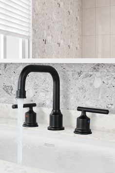 WOWOW Two Handles Widespread 8 inch Bathroom Faucet Matte Black 3 Pieces Basin Faucets Bathroom Sink Faucets, Bathroom Renos, Master Bathroom, Bathroom Black, Costal Bathroom, Sink Drain Stopper, Cheap Rustic Decor, Widespread Bathroom Faucet, White Decor