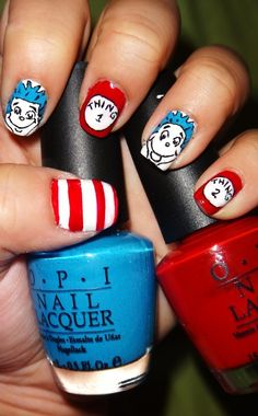 Thing 1 & Thing 2 nails for my nephews birthday Gorgeous Nails, Love Nails, How To Do Nails, Pretty Nails, Funky Nails, Amazing Nails, Perfect Nails, Super Cute Nails, Cute Nail Art